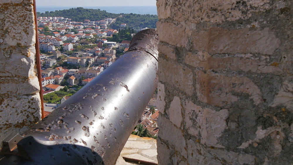 View of harbour and town from the Fortress above the town, Hvar, Hvar Island, Dalmatia, Croatia, Europe - 844-12155
