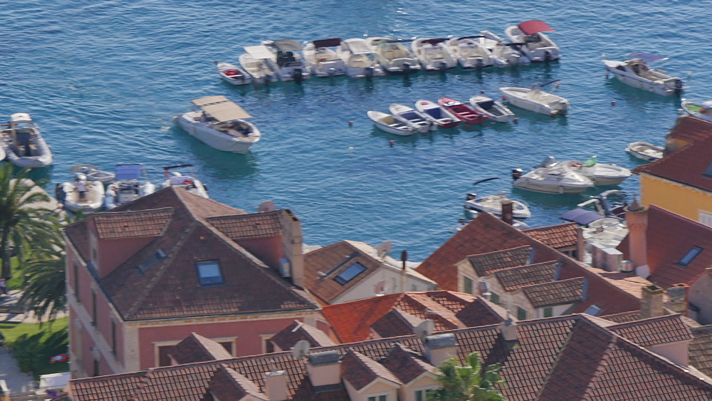 View of harbour and town from the Fortress above the town, Hvar, Hvar Island, Dalmatia, Croatia, Europe - 844-12164