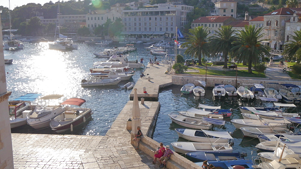 Elevated view of the town square and harbour of Hvar, Hvar Island, Dalmatia, Croatia, Europe - 844-12178
