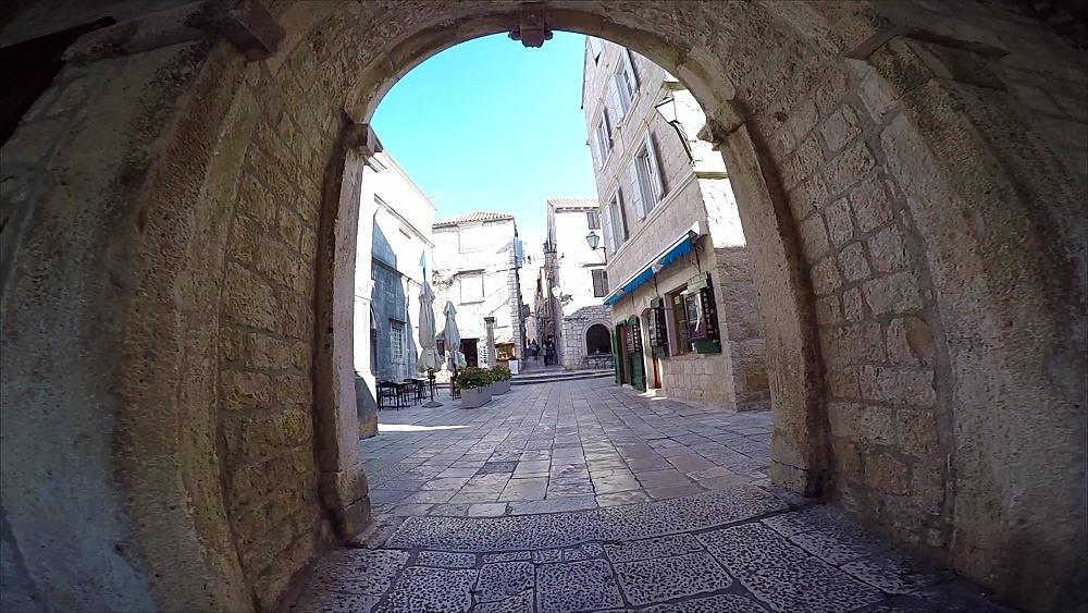 Through Town Gate towards St Marko in Old Town Korcula, Dalmatia, Croatia, Europe - 844-12225