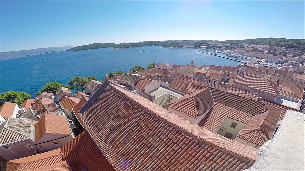 View of Old Town Korcula from Bel Tower of St Marko, Dalmatia, Croatia, Europe - 844-12235