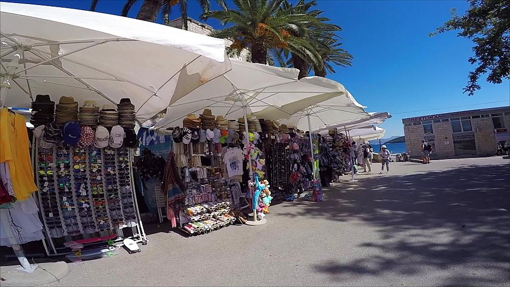 Market stalls in Korcula Old Town, Korcula, Dalmatia, Croatia, Europe
