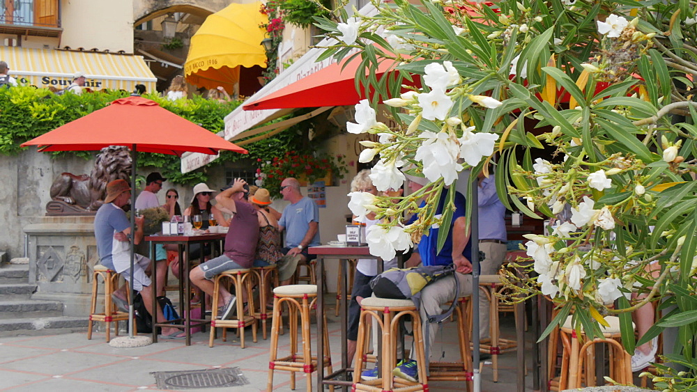 Cafe Bar in Harbour, Costiera Amalfitana (Amalfi Coast), UNESCO World Heritage Site, Province of Salerno, Campania, Italy, Europe