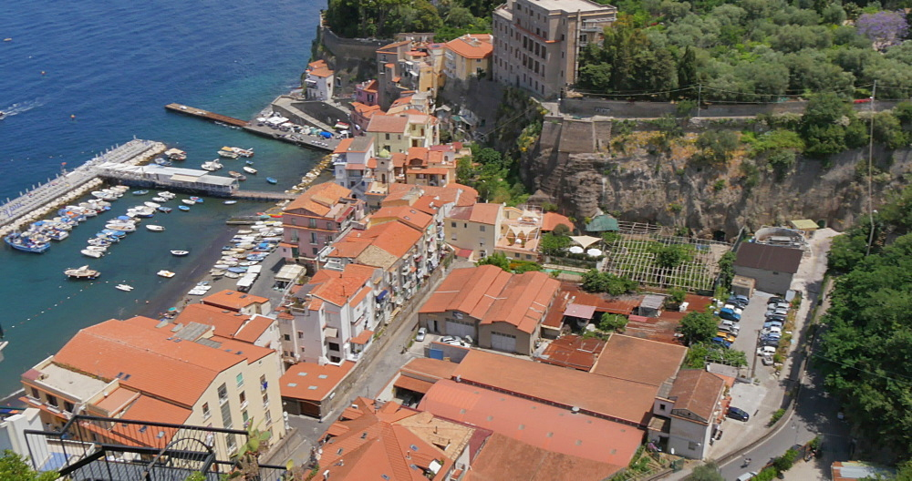Elevated panoramic view of Sorrento Harbour, Costiera Amalfitana (Amalfi Coast), UNESCO World Heritage Site, Campania, Italy, Europe - 844-12354