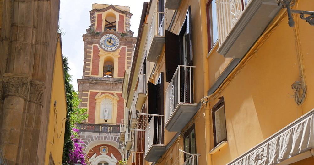 Shoppers on Via S. Cesareo and clock tower, Sorrento, Costiera Amalfitana (Amalfi Coast), UNESCO World Heritage Site, Campania, Italy, Europe