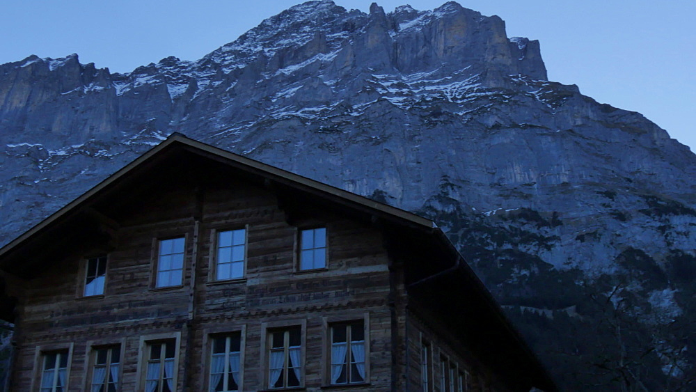 Grindelwald Village Church, The Wetterhorn & Eiger, Bernese Oberland, Canton of Bern, Switzerland, Europe - 844-12460