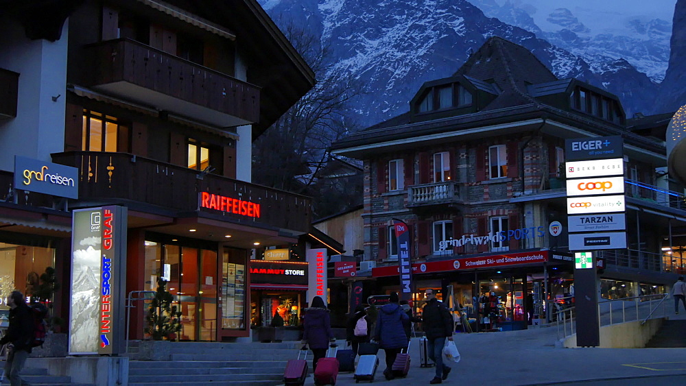 Grindelwald Village at dusk, Bernese Oberland, Canton of Bern, Switzerland, Europe - 844-12541