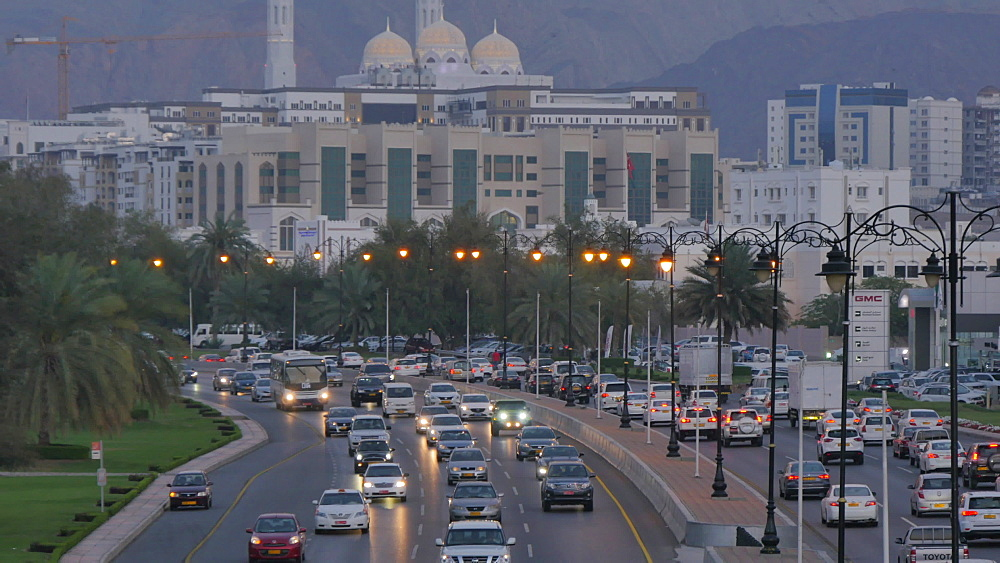 View of Mohammed Al Ameen Mosque & traffic on Sultan Taboos Street, Muscat, Oman, Middle East, Asia