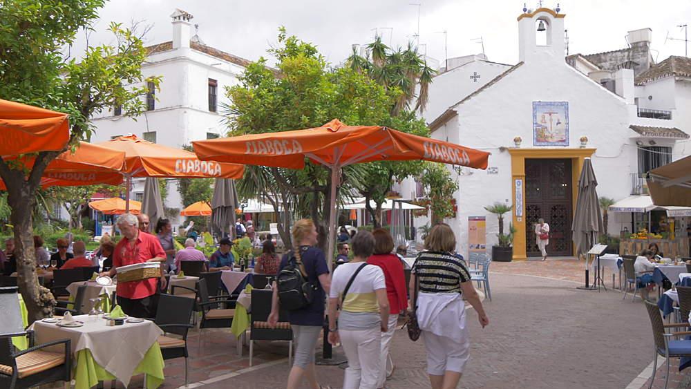 Restaurants in Plaza de los Naranjos, Old Town, Marbella, Andalucia, Spain, Europe