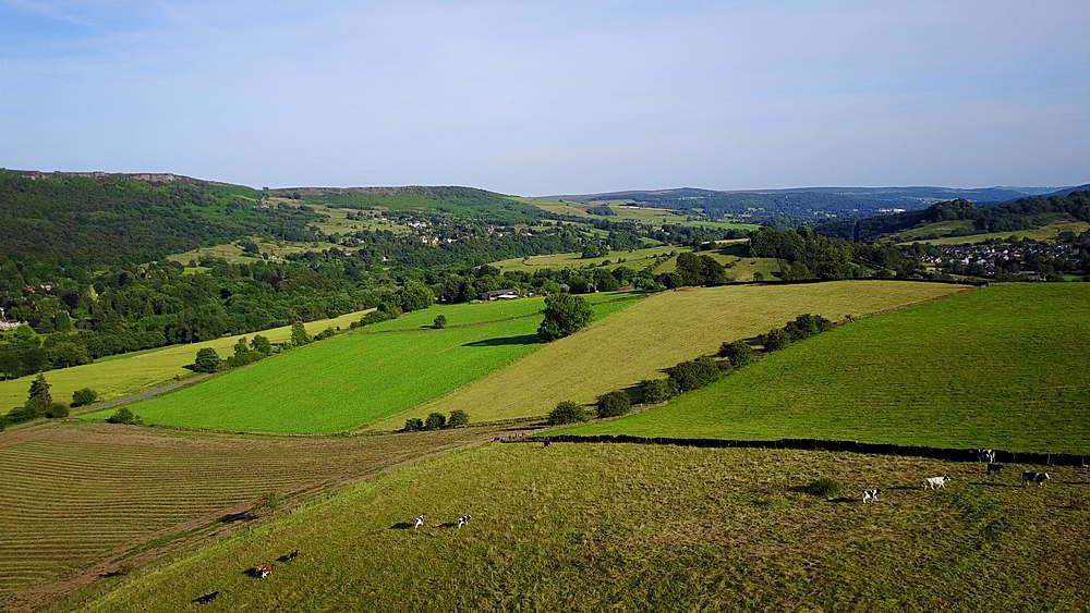 View of farmland near Calver and Froggatt, Peak District National Park, Derbyshire, England, United Kingdom, Europe