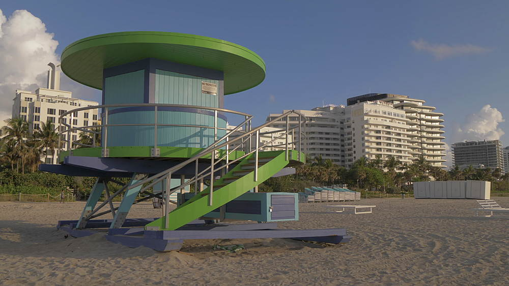 Colourful Lifeguard watchtower at dawn, Miami Beach, South Beach, Miami, Florida, United States of America, North America