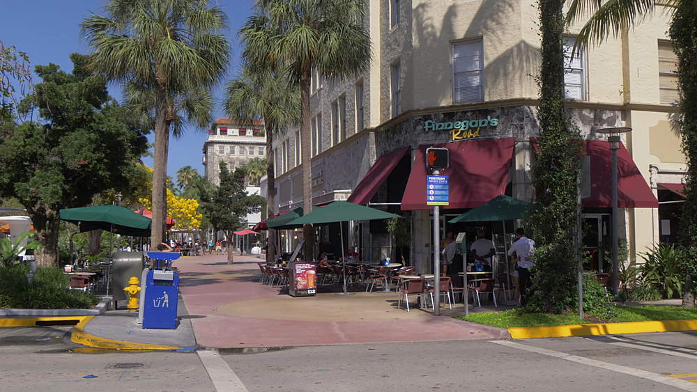 Lincoln Road sign and cafes on Lincoln Road Mall, Miami Beach, South Beach, Miami, Florida, United States of America, North America