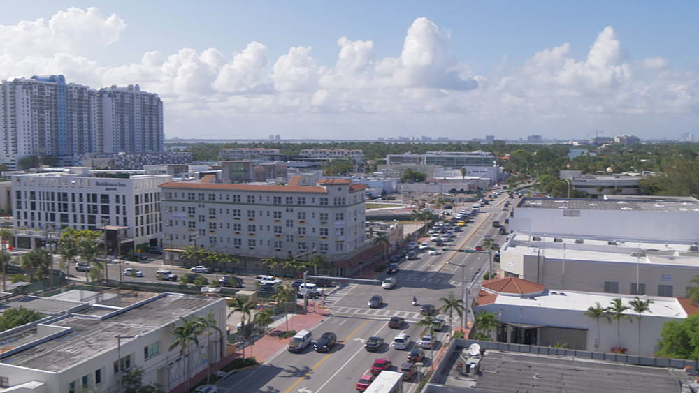 Elevated view of South Beach from above Lincoln Road Mall, Miami Beach, South Beach, Miami, Florida, United States of America, North America