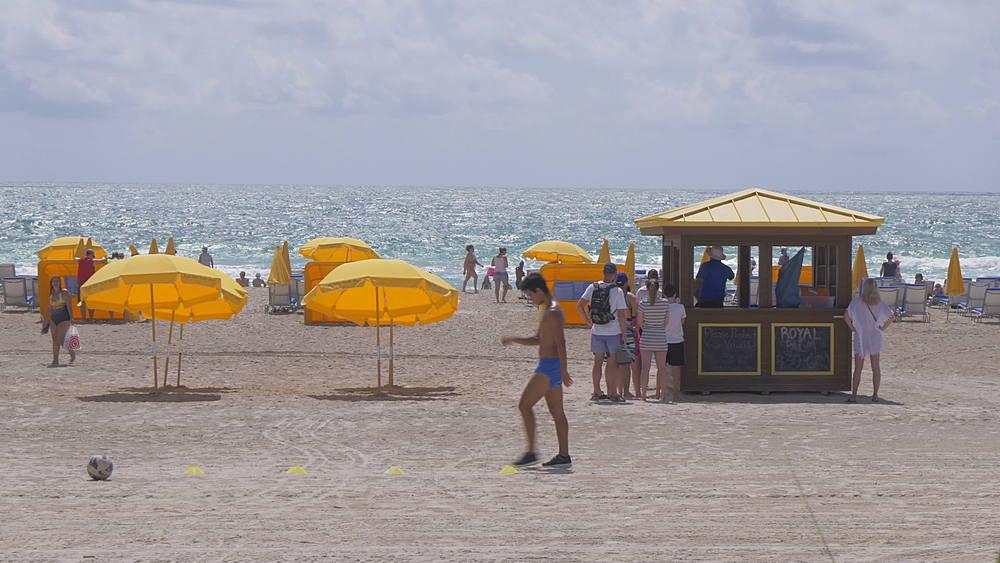 Beach bar and sun shades on Miami Beach, South Beach, Miami, Florida, United States of America, North America