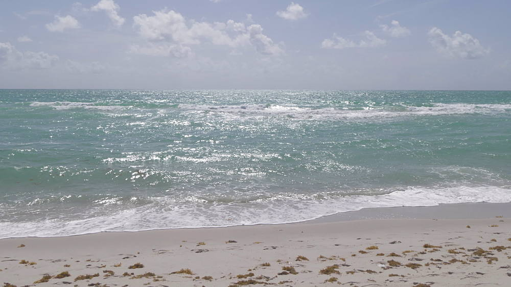 Sea, beach and sky on Miami Beach, South Beach, Miami, Florida, United States of America, North America