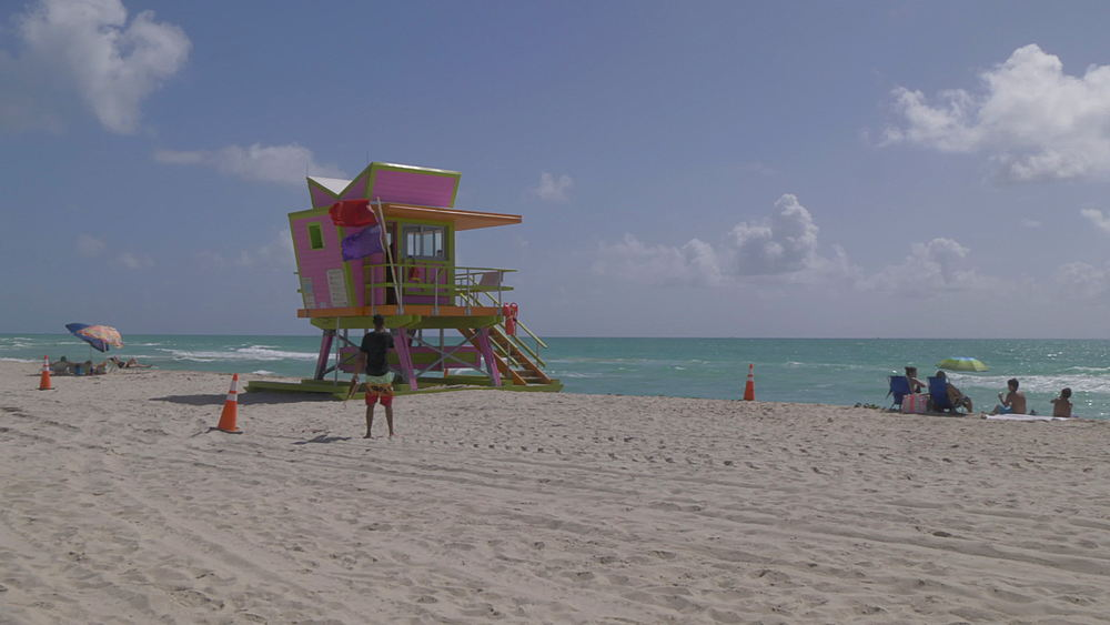 Colourful lifeguard watchtower on Miami Beach, South Beach, Miami, Florida, United States of America, North America