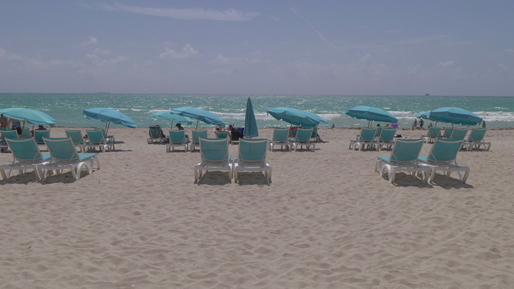 Lifting shot sunshades on Miami Beach, South Beach, Miami, Florida, United States of America, North America
