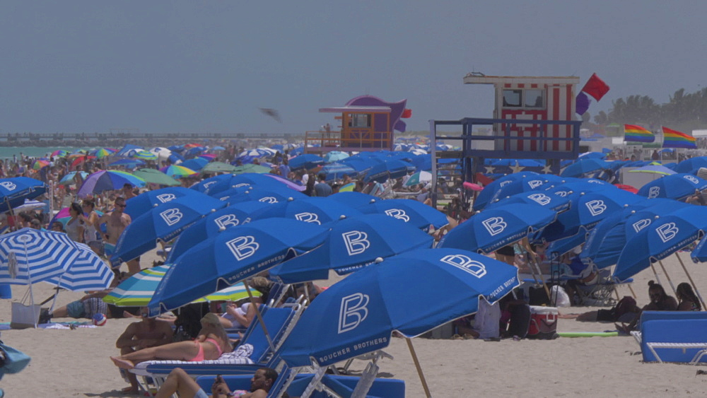 View of beach and sunshades from lifeguard tower on Miami Beach, South Beach, Miami, Florida, United States of America, North America
