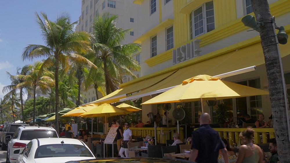 Yellow Ferrari on Ocean Drive, South Beach, Miami, Florida, United States of America, North America