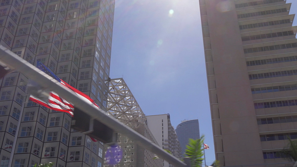 Travelling on freeway toward Downtown skyscrapers, Miami, Florida, United States of America, North America