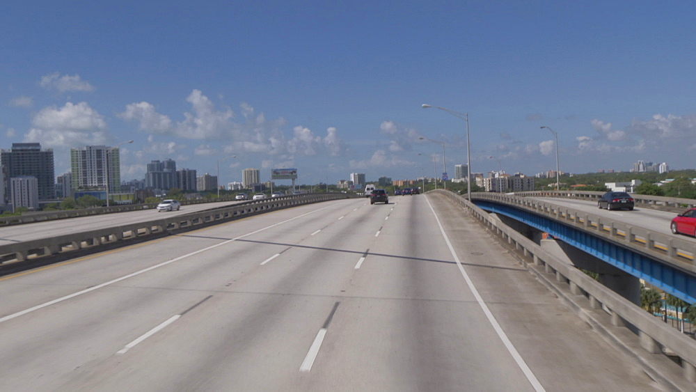 Travelling through Downtown on freeway toward Coconut Grove, Miami, Florida, United States of America, North America