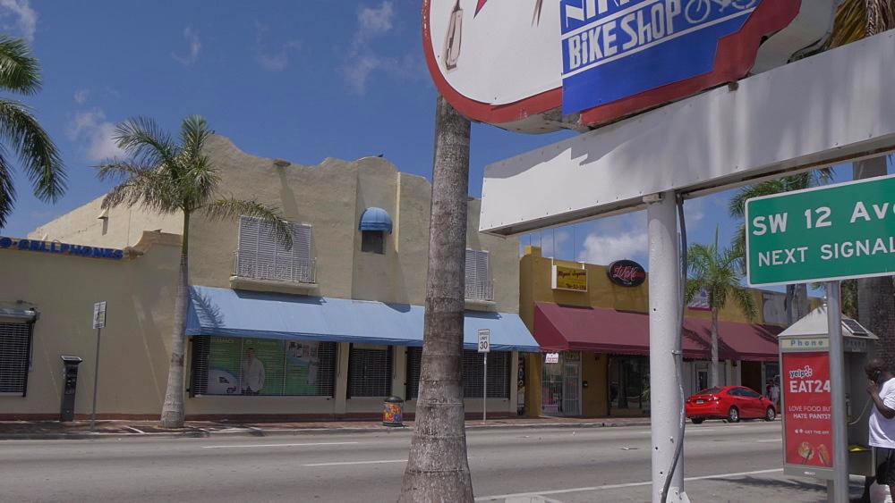 Barber shop sign on 8th Street in Little Havana, Little Havana, Miami, Florida, USA - 844-14206