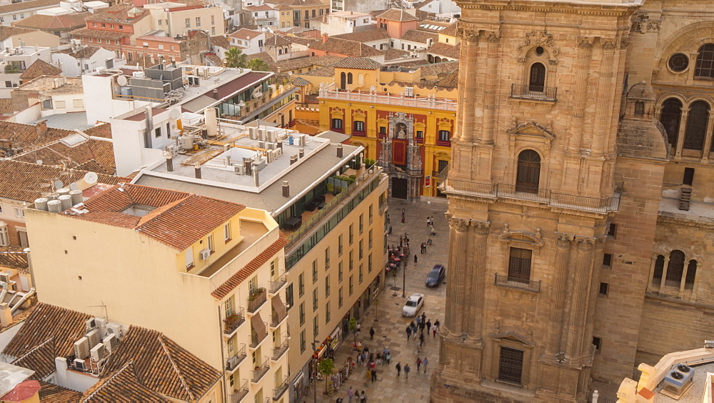 Time lapse of elevated view of Malaga Cathedral Plaza Obispo, Málaga, Andelucia, Spain, Europe - 844-14265