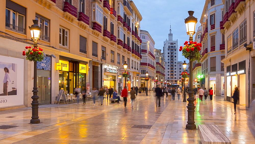 Time lapse of Calle Marques de Larios at dusk, Málaga, Andelucia, Spain, Europe - 844-14266