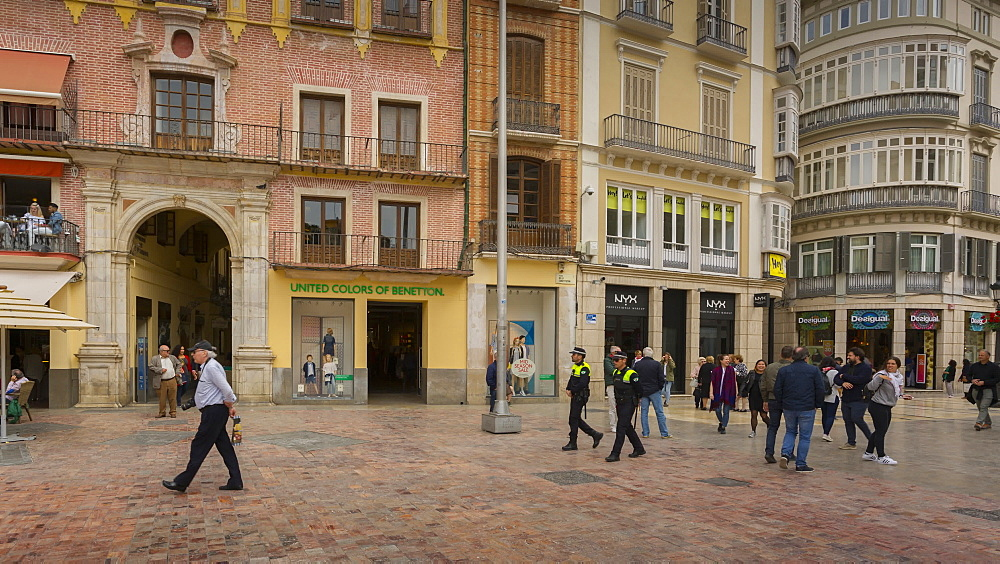 Moving time lapse of people and cafes in Plaza de Felix Saenz, Málaga, Andelucia, Spain, Europe - 844-14269