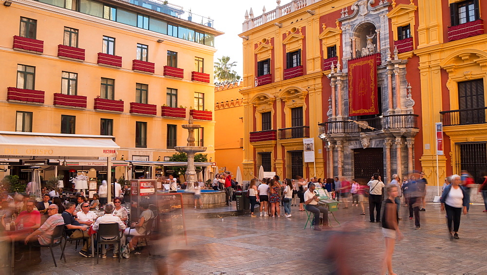 Time lapse of Palacio Episcopal and restaurant in Plaza Obispo, Málaga, Andelucia, Spain, Europe - 844-14274