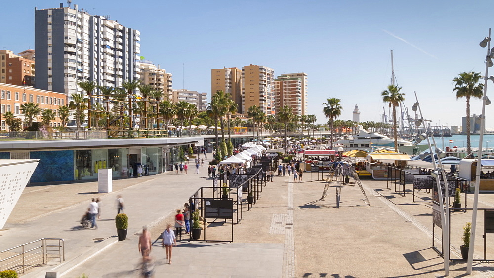 Time lapse of elevated view of Marina, Málaga, Andelucia, Spain, Europe - 844-14276