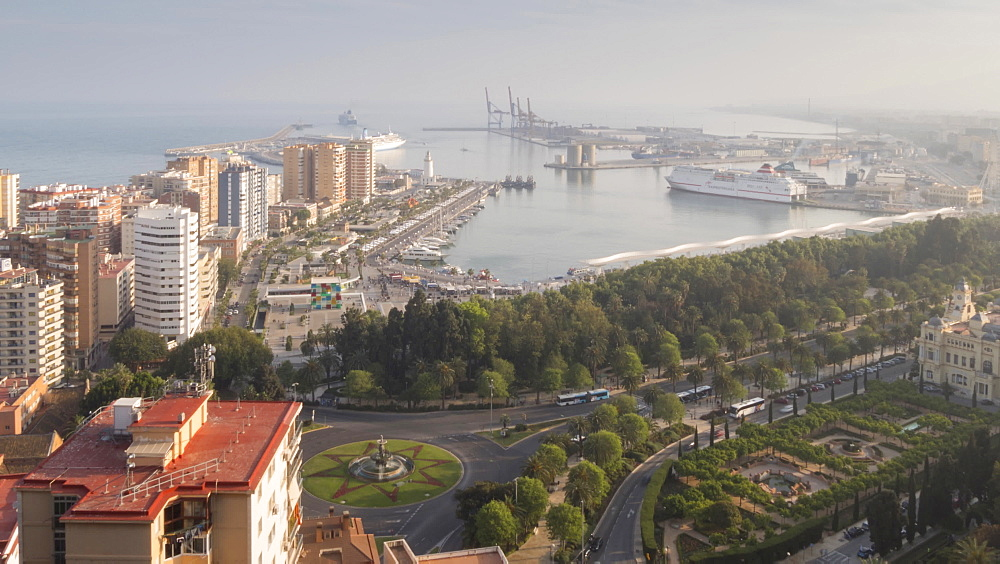 Time lapse of elevated view of Marina and port of Malaga, Málaga, Andelucia, Spain, Europe - 844-14278