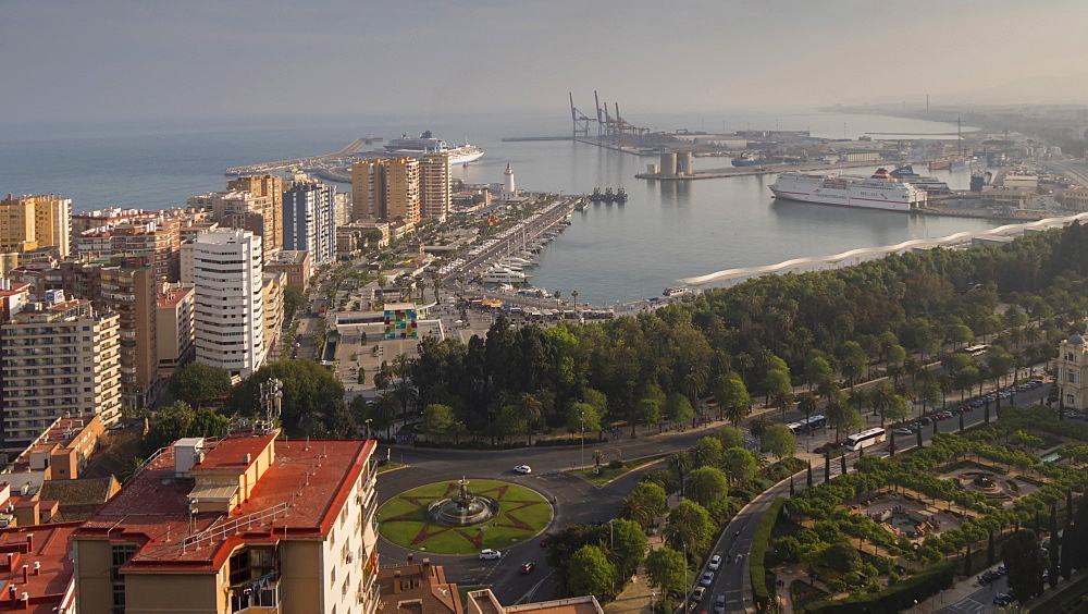 Moving time lapse of elevated view of Marina and port of Malaga, Málaga, Andelucia, Spain, Europe - 844-14279