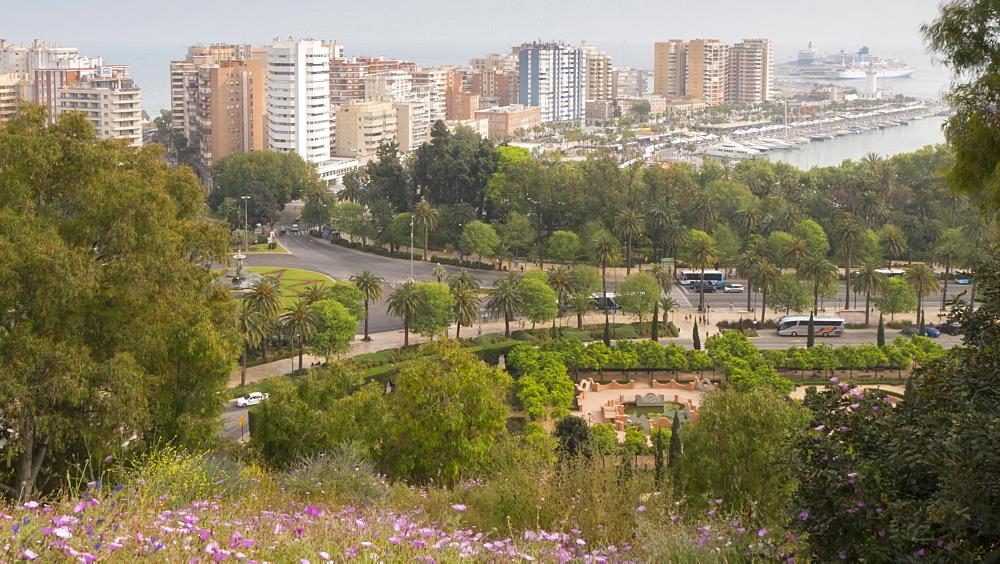 Time lapse of elevated view of Fuente de las Tres Gracias and marina, Málaga, Andelucia, Spain, Europe - 844-14280