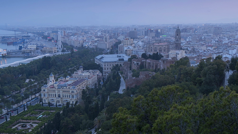 Time lapse of elevated view of Cathedral, Old Town and port of Malaga at sunset, Málaga, Andelucia, Spain, Europe - 844-14281