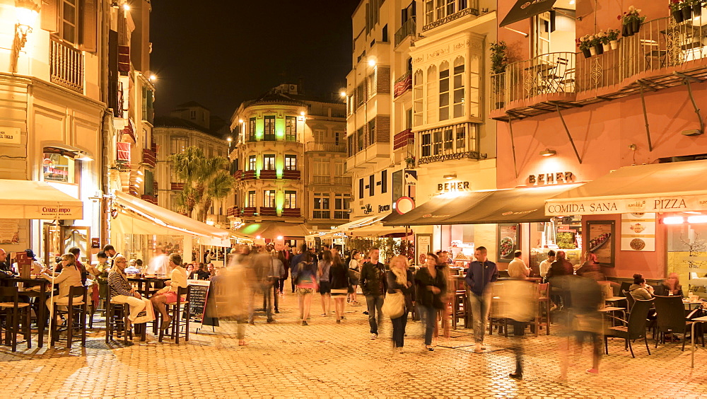 Time lapse of restaurants on Calle Granada in evening, Málaga, Andelucia, Spain, Europe - 844-14282