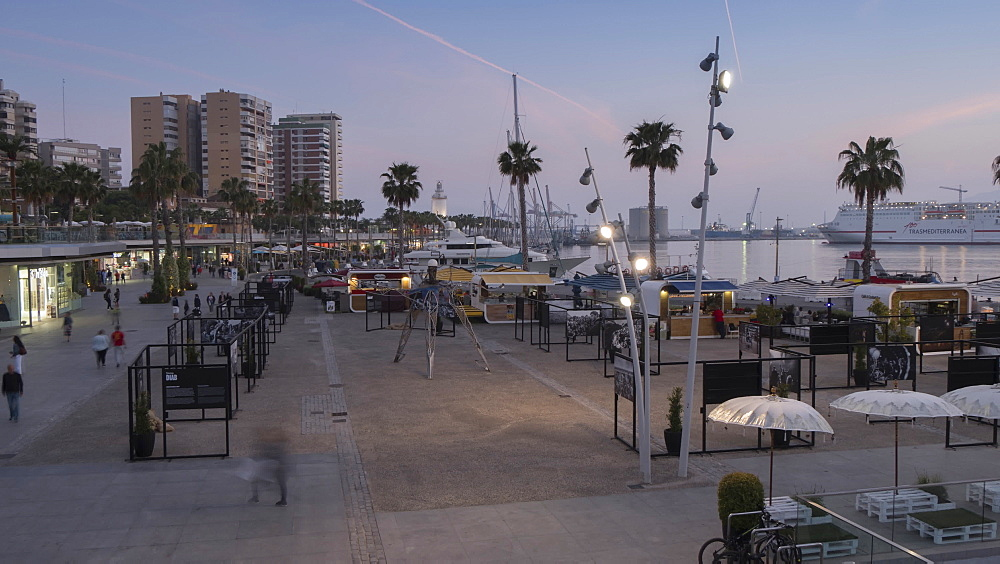 Time lapse of elevated view of Marina at dusk, Málaga, Andelucia, Spain, Europe - 844-14283