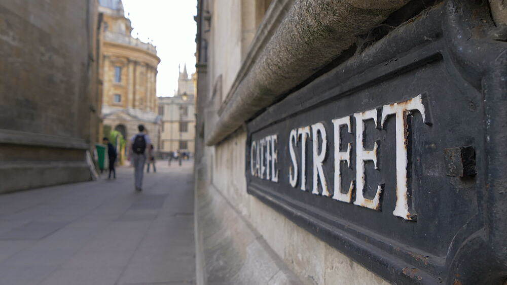 Catte Street and sign, Oxford, Oxfordshire, England, United Kingdom, Europe - 844-14292