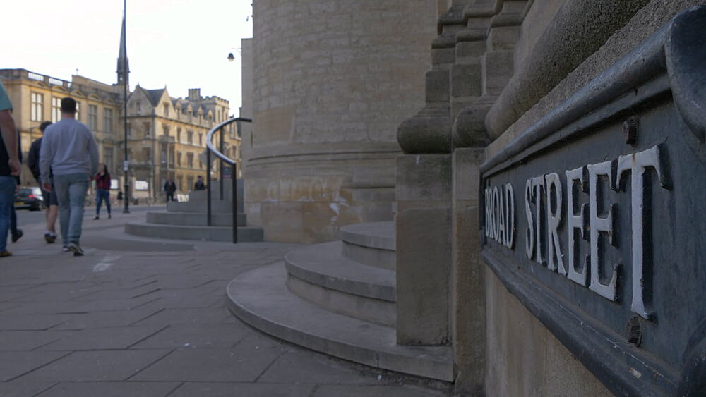 Broad Street and sign, Oxford, Oxfordshire, England, United Kingdom, Europe - 844-14296