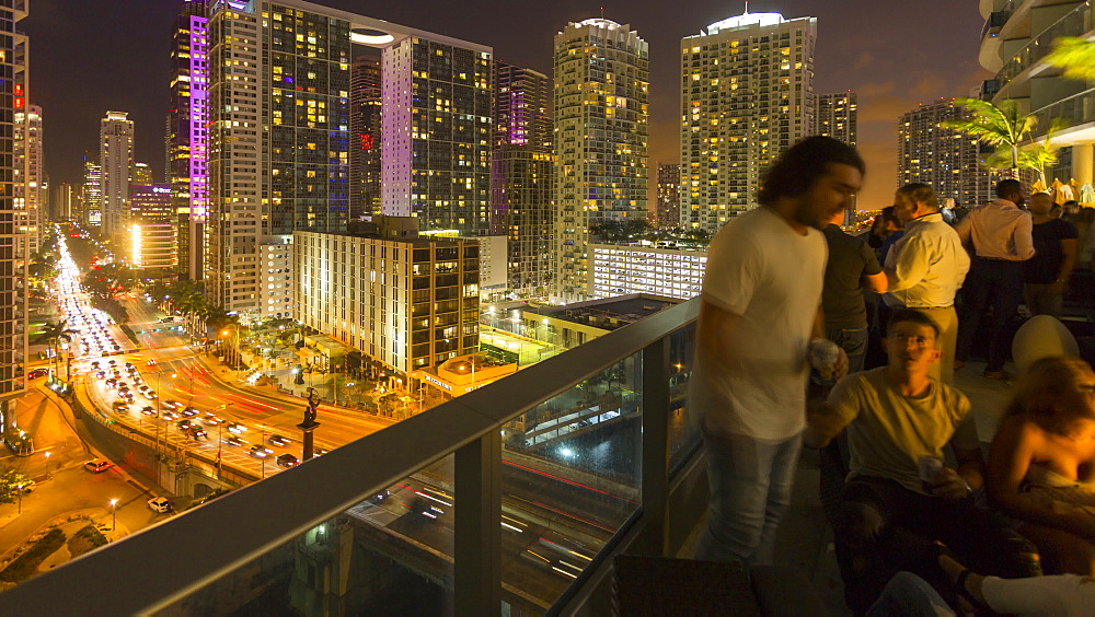 Timelapse of bar overlooking traffic in Downtown Miami at night, Downtown Miami, Miami, Florida, USA - 844-14316