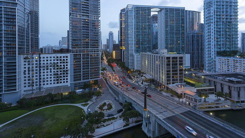 Timelapse of traffic in Downtown Miami at night, Downtown Miami, Miami, Florida, USA - 844-14317
