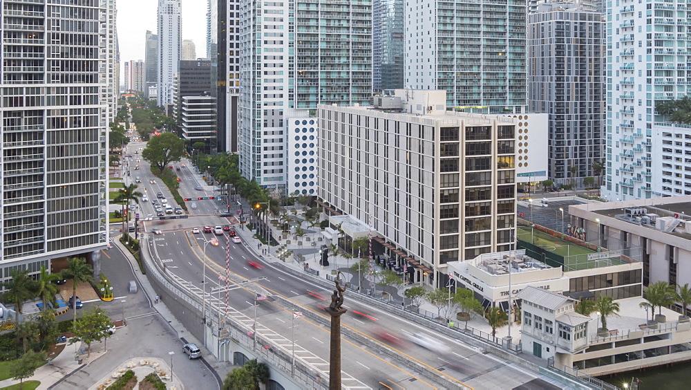 Timelapse of traffic in Downtown Miami at dusk, Downtown Miami, Miami, Florida, USA - 844-14318
