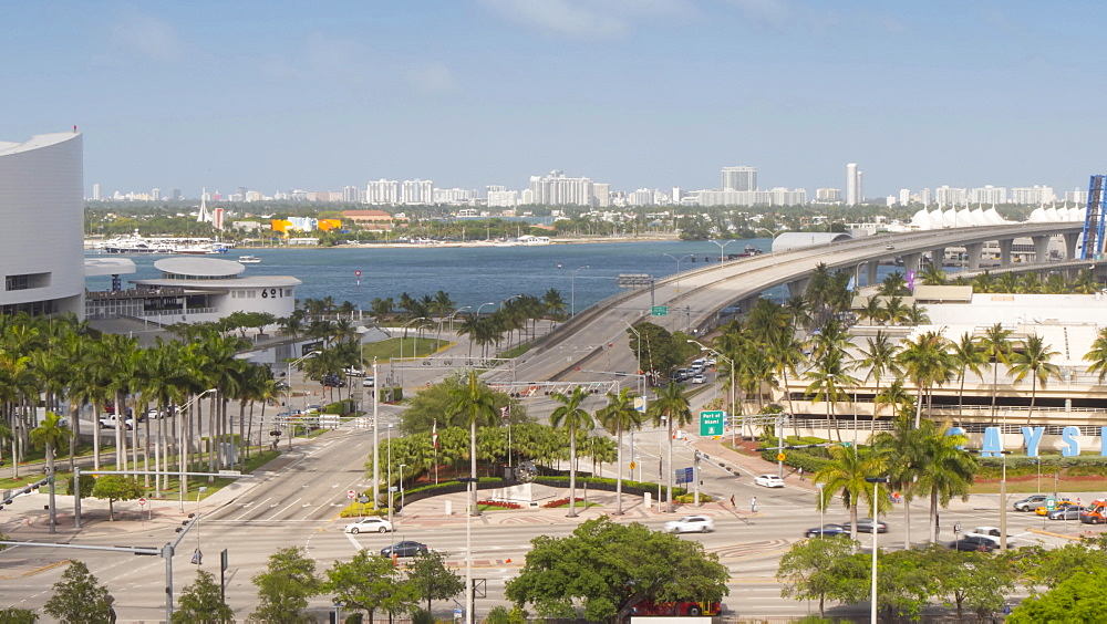 Timelapse of cruise ship leaving Port of Miami, Downtown Miami, Miami, Florida, USA - 844-14319