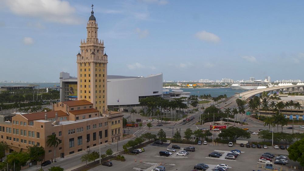 Timelapse of traffic around the Freedom Tower and Port of Miami, Downtown Miami, Miami, Florida, USA - 844-14320