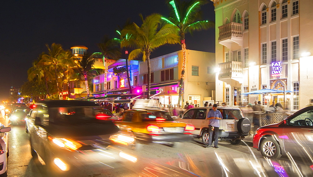 Timelapse of traffic on Ocean Drive at dusk, South Beach, Miami, Florida, USA - 844-14324