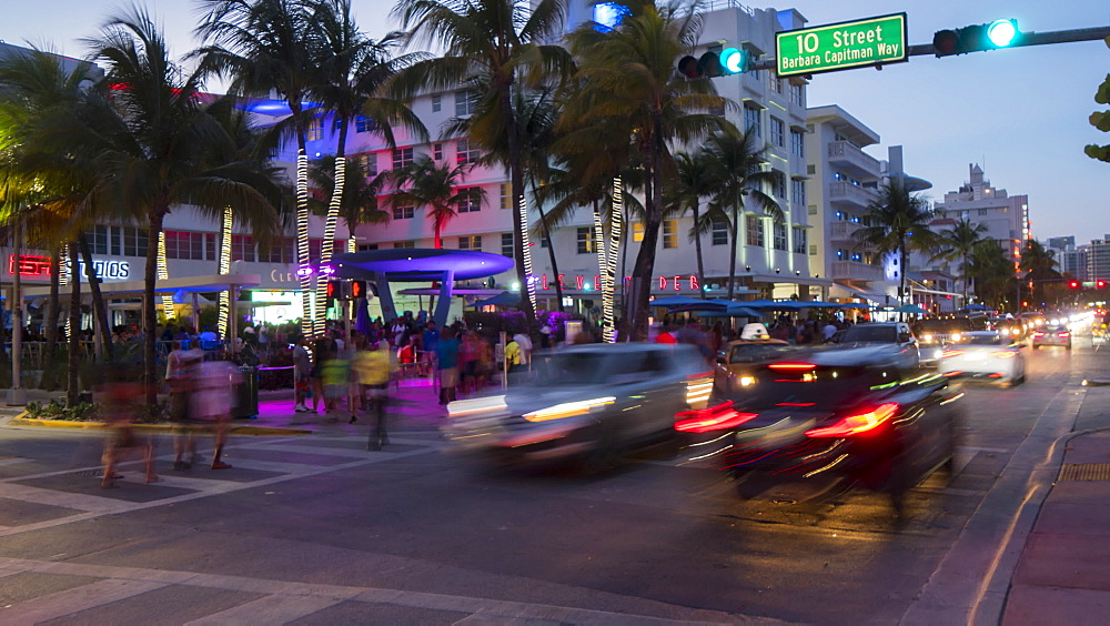 Timelapse of traffic on Ocean Drive at dusk, South Beach, Miami, Florida, USA - 844-14325