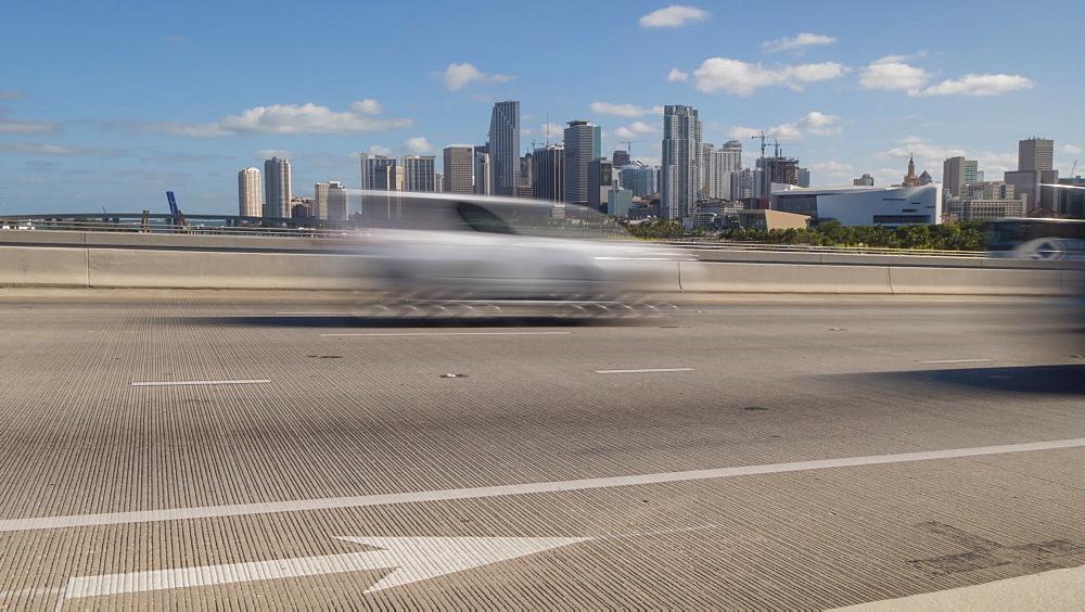 Timelapse of traffic on MacArthur Causeway and Downtown Miami, Downtown Miami, Miami, Florida, USA - 844-14327