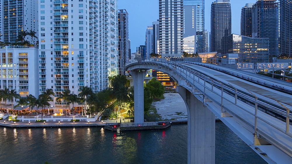 Timelapse of Metrorail system in Downtown Miami at night, Miami, Florida, USA - 844-14330