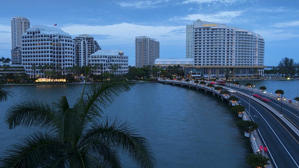 Timelapse of Brickell Key at dusk, South Beach, Miami, Florida, USA - 844-14332