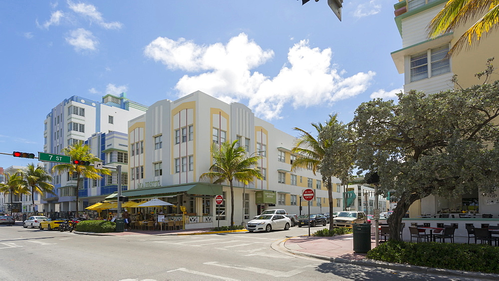 Moving timelapse of traffic on Ocean Drive, South Beach, Miami, Florida, USA - 844-14336